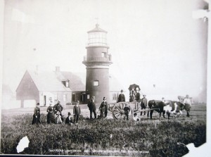 Tourists visit the Gay Head Lighthouse