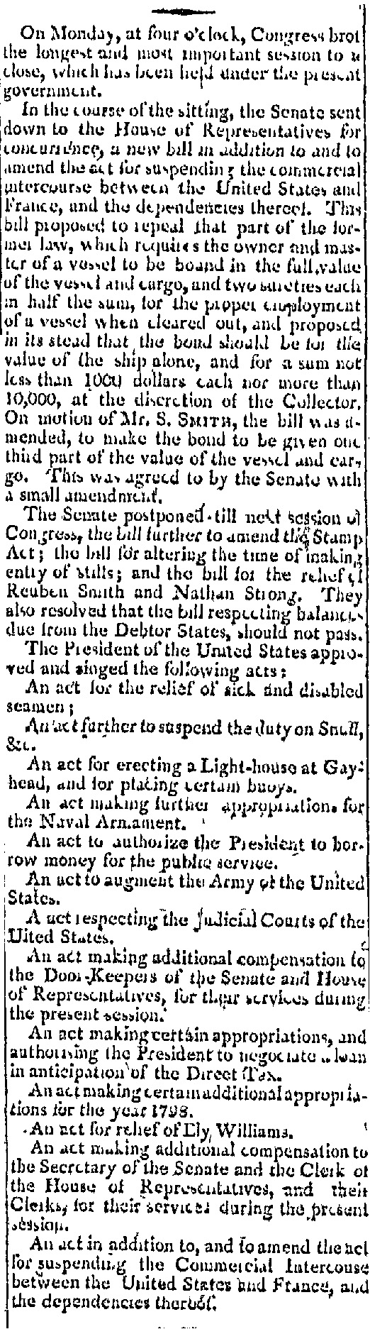 Congressional vote approving lighthouse, 1798
