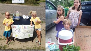 children sell lemonade to raise money to save the Gay Head Lighthouse