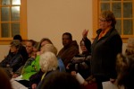 Marjorie Spitz addresses the floor at Aquinnah special town meeting Thursday.